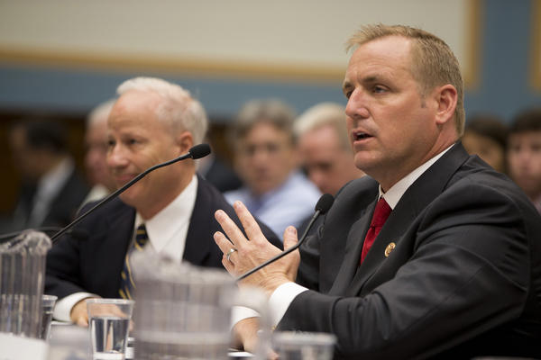 Rep. Jeff Denham, (R-Calif.), right, testifies on Capitol Hill in Washington.