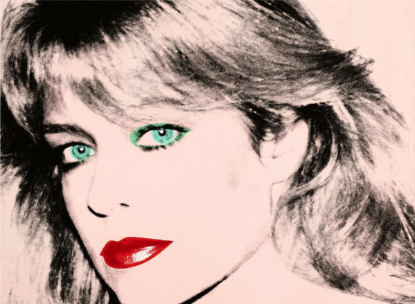 A detail of the Andy Warhol portrait of Farrah Fawcett that is at the center of a legal dispute between actor Ryan O'Neal and the University of Texas at Austin.