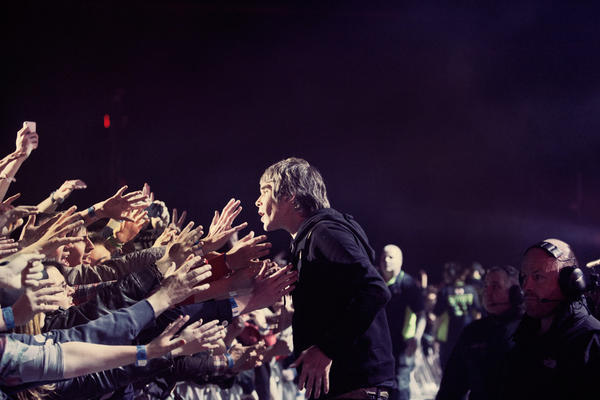 Ian Brown of the Stone Roses gets close to fans last year at Heaton Park in Manchester, England.