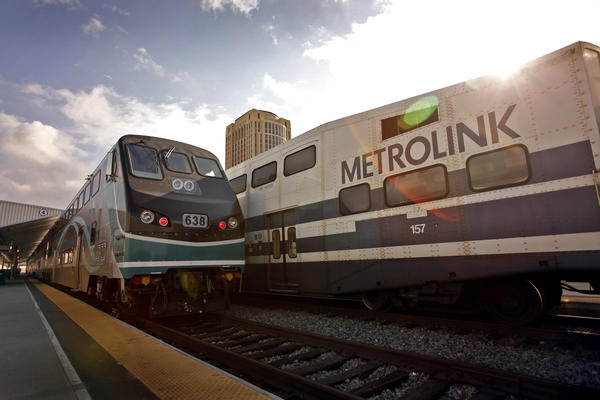 Metrolink trains at Union Station.