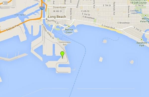 A map shows Pier J in Long Beach, near where a man's body was pulled from the water.