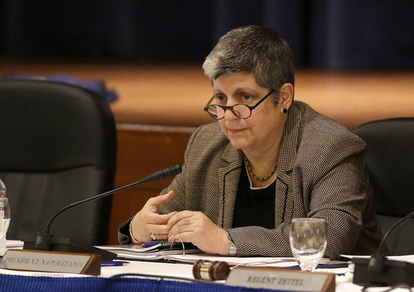 University of California President Janet Napolitano listens during her first UC Regents meeting Tuesday in San Francisco.