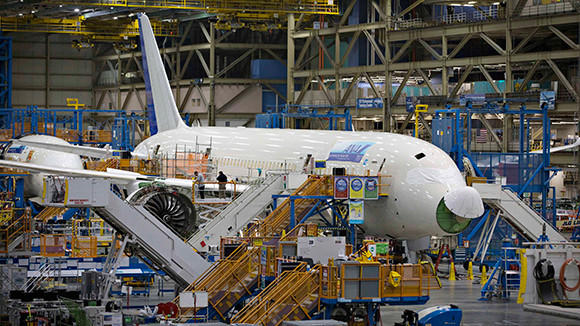 A Boeing 787 sits on the assembly line at the company's operations in Everett, Washington.