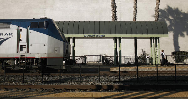 The Metrolink/Amtrak train station in Anaheim.