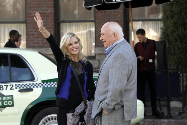 "Ed Asner guest stars in ""The Crazy Ones"" on CBS. With Sarah Michelle Gellar."