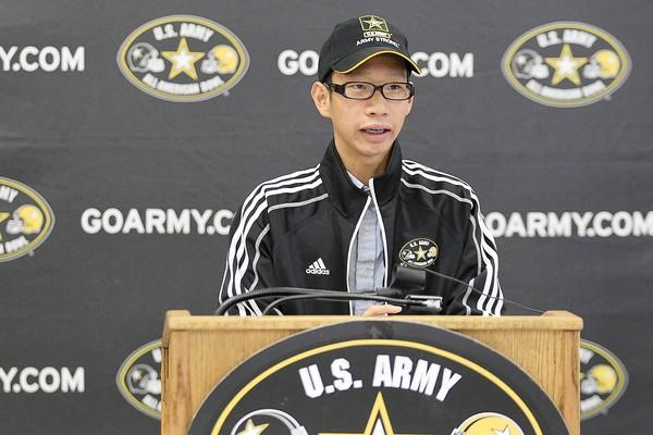 Fountain Valley High's Thomas Tran, 17, speaks during an event honoring him as one of 125 students nationwide to perform at the 2014 U.S. Army All-American Bowl game at San Antonio in January.