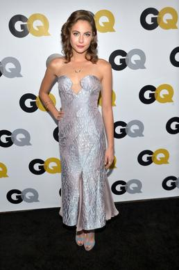 """The Arrow"" actress Willa Holland in a strapless, backless, ankle-length Giorgio Armani gown at GQ magazine's West Coast Men of the Year party at the Wilshire Ebell."