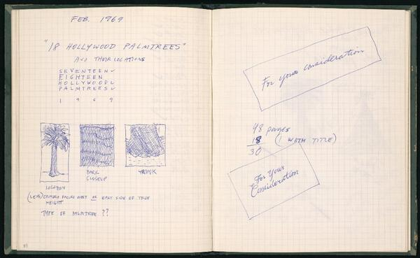 Pages from one of Ed Ruscha's journals, ca. 1969.