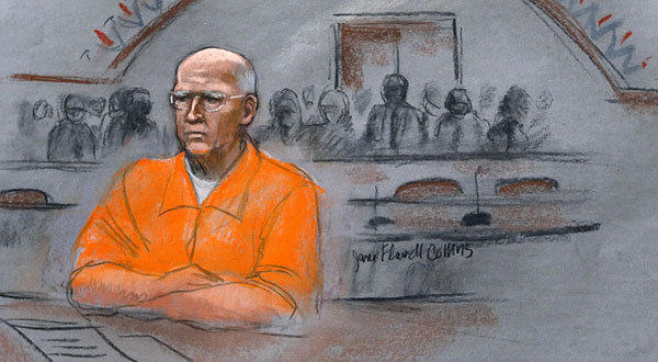 """In this courtroom sketch, James """"Whitey"""" Bulger sits at his sentencing hearing in federal court in Boston."""