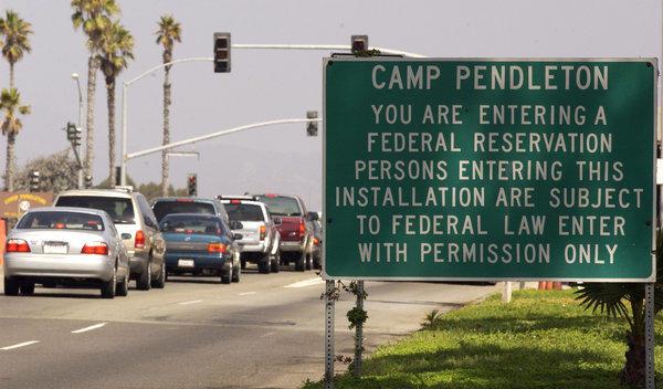 The main gate at Camp Pendleton.