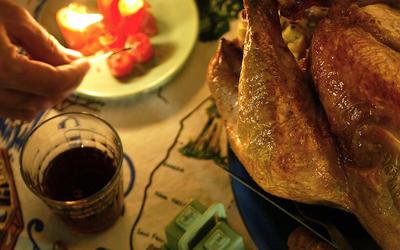 Salt-cured turkey with focaccia stuffing