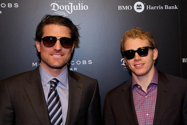 Patrick Sharp and Patrick Kane attend the Michigan Avenue Magazine cover party at Carnivale.