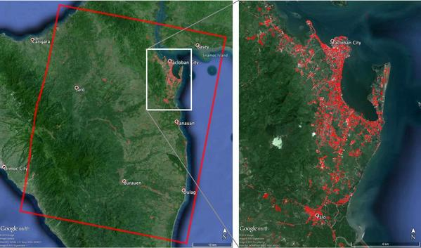 JPL's Advanced Rapid Imaging and Analysis team used radar to create this map of damage caused by Typhoon Haiyan near Tacloban, Philippines.
