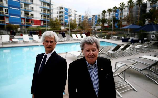Jerry Epstein, right, and David Levine are the developers of the Shores, a new residential complex in Marina del Rey that is aimed at highly paid Silicon Beach workers.
