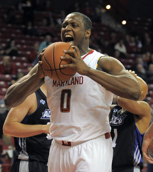 Maryland forward Charles Mitchell shows his frustration after missing a layup in the second half.