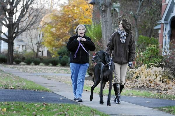 Billye Logan, left, walks with her neighbor, Mary Diaz Raymond, right, in front of their homes on Hartford Ave. along with Billye's Great Dane, Zelda. Billye has lived in Wethersfield since 1959 and is very active in town. Mary and her husband added 1,000 square feet to their historic home in 2009.