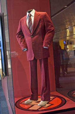 Would an exhibit on fictional TV news anchorman Ron Burgundy be complete without the burgundy polyester suit that Will Ferrell wore during filming of the forthcoming movie?
