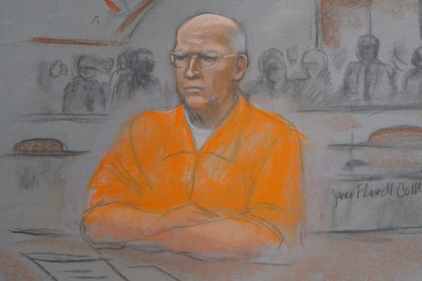 "A courtroom artist's sketch shows convicted mobster James ""Whitey"" Bulger in federal court during the first of two days of his sentencing hearing in Boston, Massachusetts Wednesday. Bulger was sentenced to two life sentenced years on Thursday."