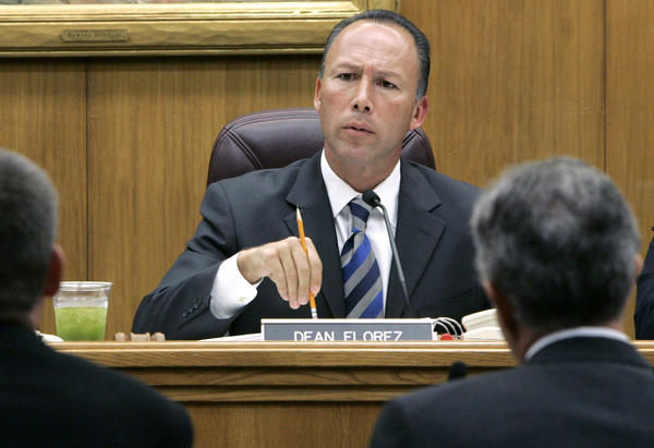 Then-state Sen. Dean Florez (D-Shafter) center, talks during a hearing at the Capitol in Sacramento in 2006.