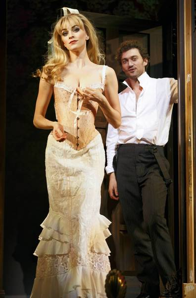 "Lisa O'Hare as Sibella Hallward and Bryce Pinkham as Monty Navarro in a ""A Gentleman's Guide to Love and Murder"" at the Walter Kerr Theater in New York."