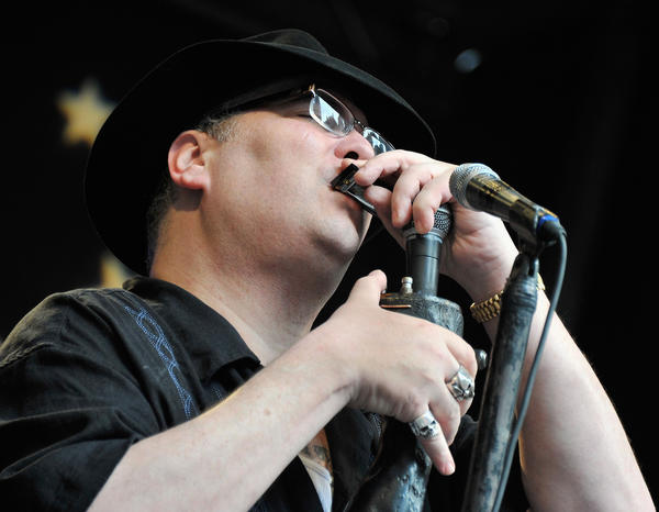 Singer/musician John Popper of Blues Traveler performs during 'FOX & Friends' All American Concert Series outside of FOX Studios in New York City.