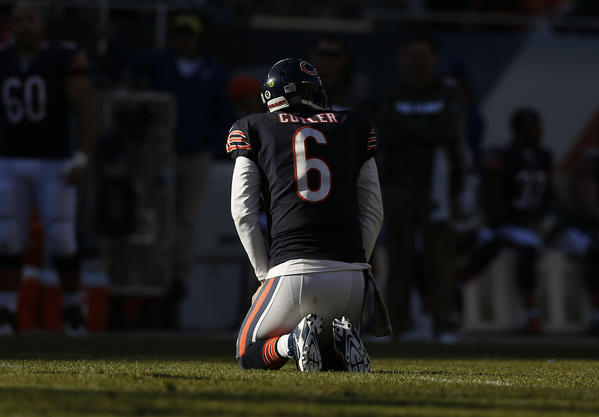 Chicago Bears' Jay Cutler during 21-19 loss to Detroit Lions Sunday.