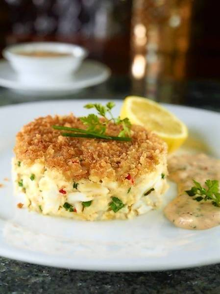 The jumbo lump crab cake appetizer at Eddie V's Prime Seafood in Orlando.