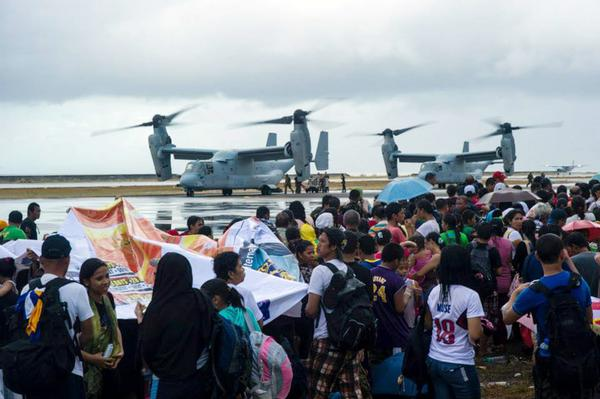 American aircraft are loaded with supplies to provide aid to survivors of Typhoon Haiyan in the Philippines.