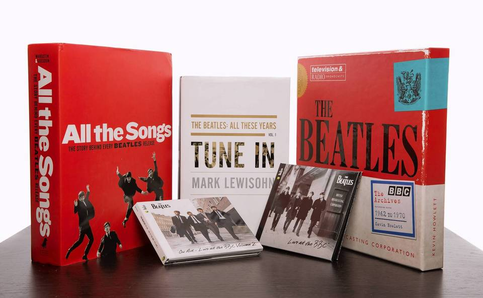 A collection of Beatles books and music.