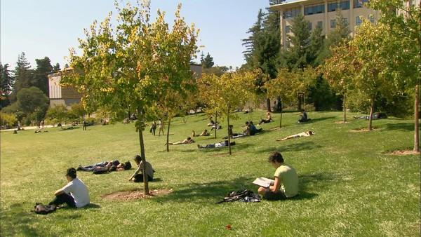 "A pastoral campus scene at UC Berkeley from the documentary ""At Berkeley."""
