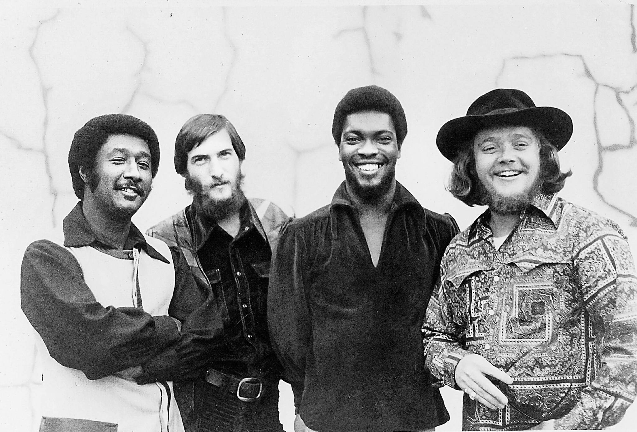 "Al Jackson, Steve Cropper, Booker T. Jones and Donald ""Duck"" Dunn of Booker T. & the MG's pose for a photo in 1968."