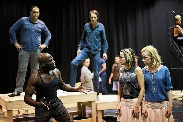 "The ""Sideshow"" cast in rehearsal at La Jolla Playhouse."