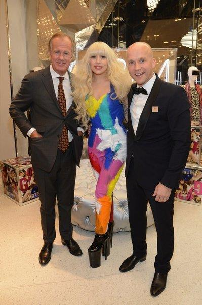 Lady Gaga joined H&M executives Stefan Persson, left, and Daniel Kulle for the midnight opening of a new H&M store in Times Square.