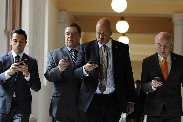 "Mark Consuelos, left, John Goodman, Clark Johnson and Matt Malloy are senators and roommates in ""Alpha House,"" the first comedy from Amazon Studios."