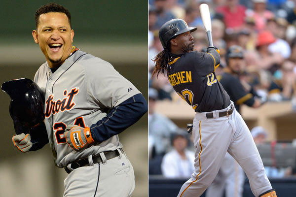 The Tigers' Miguel Cabrera and the Pirates' Andrew McCutchen.