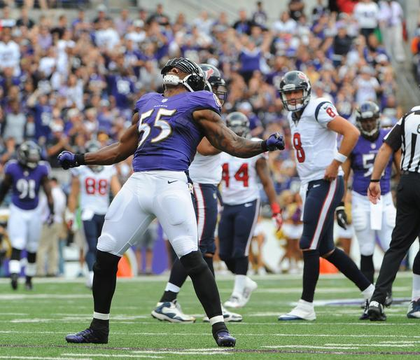 Ravens rush linebacker Terrell Suggs celebrates after a sack against the Houston Texans in September.