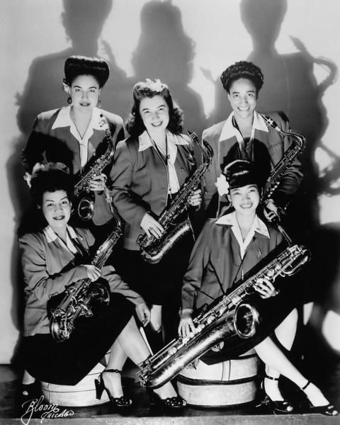 "A vintage photograph of some female jazz players featured in ""The Girls in the Band."""