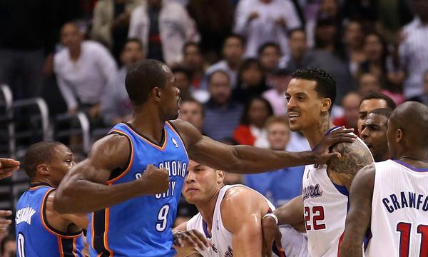 Oklahoma City's Serge Ibaka, left, confronts Clippers forward Matt Barnes during an altercation on Wednesday. Barnes was fined by the NBA on Thursday.
