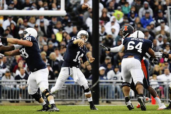 Nov 2, 2013; University Park, PA, USA; Penn State Nittany Lions quarterback Christian Hackenberg (14) throws a pass during the fourth quarter against the Illinois Fighting Illini at Beaver Stadium.