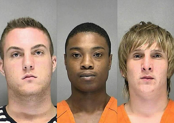 From left, Dempsey Hadley, Raekwon Watts and Cole Kifner face murder charges in the death of 18-year-old Tristan DeJoy in April.