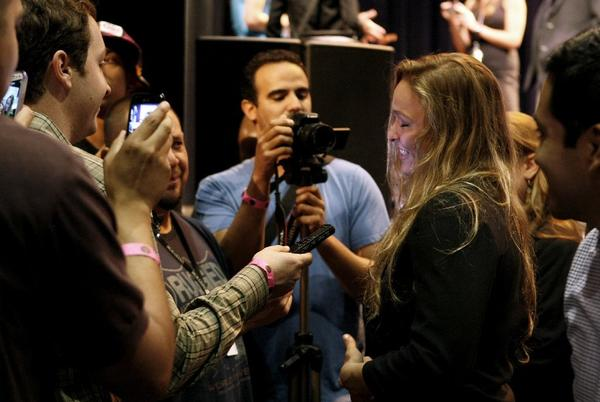 UFC champion and Glendale-trained Ronda Rousey, center, received a boost of support from fellow UFC fighter Chael Sonnen at a press conference Monday afternoon in Los Angeles. (Raul Roa/File Photo)