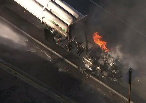 A big rig burns on the 60 Freeway in Hacienda Heights on Thursday afternoon.
