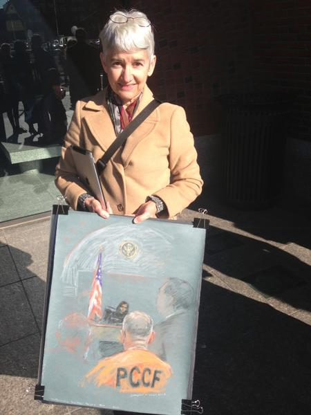 Courtroom artist Margaret Small said Whitey Bulgers posture barely changed throughout his trail.