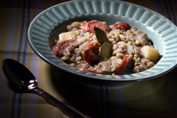 "A comforting one-dish meal.<br> <a href=""http://recipes.latimes.com/recipe-lentils-with-sausages/"" target""_blank""> <b>Recipe: Lentils with sausage</b></a><br>"