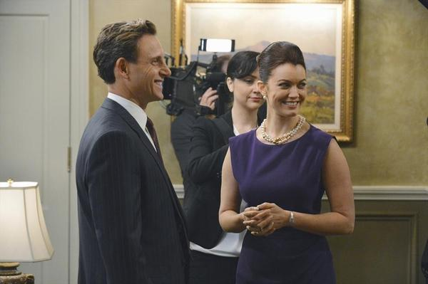 "Tony Goldwyn as President Fitz Grand and Bellamy Young as the first lady in a scene from ""Scandal."""