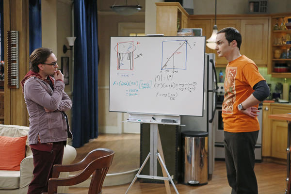Jim Parsons, right, and Johnny Galecki calculate a ratings win for CBS.