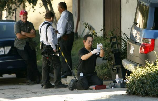Investigators were scouring Bright Lane in the Silver Lake neighborhood on Thursday, November 14, 2013, where Joseph Gatto, 78, the father of Assemblyman Mike Gatto, was found shot to death in the family's home the night before.