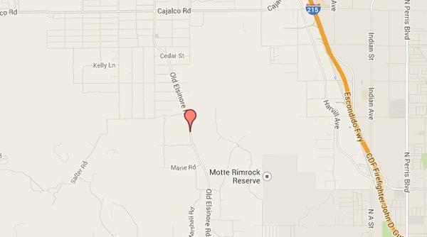 A map shows the approximate location of a deadly crash that killed a 62-year-old man in Perris on Thursday.
