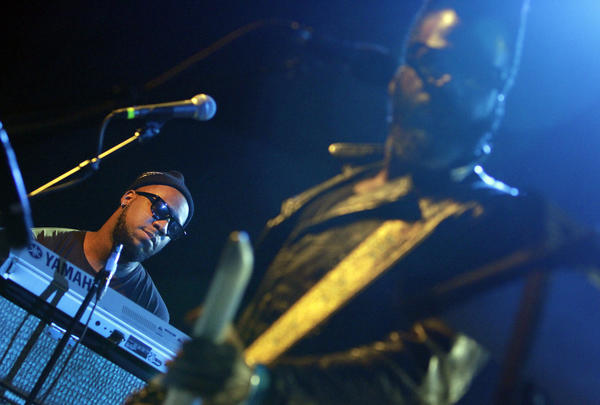 Robert Glasper, left, and Casey Benjamin perform Thursday night at the El Rey Theatre.