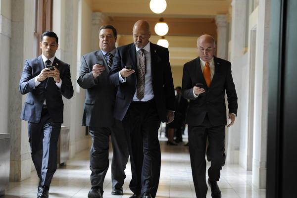"From left to right: Mark Consuelos, John Goodman, Clark Johnson and Matt Malloy as the U.S. senators who room together in Amazon's ""Alpha House."""